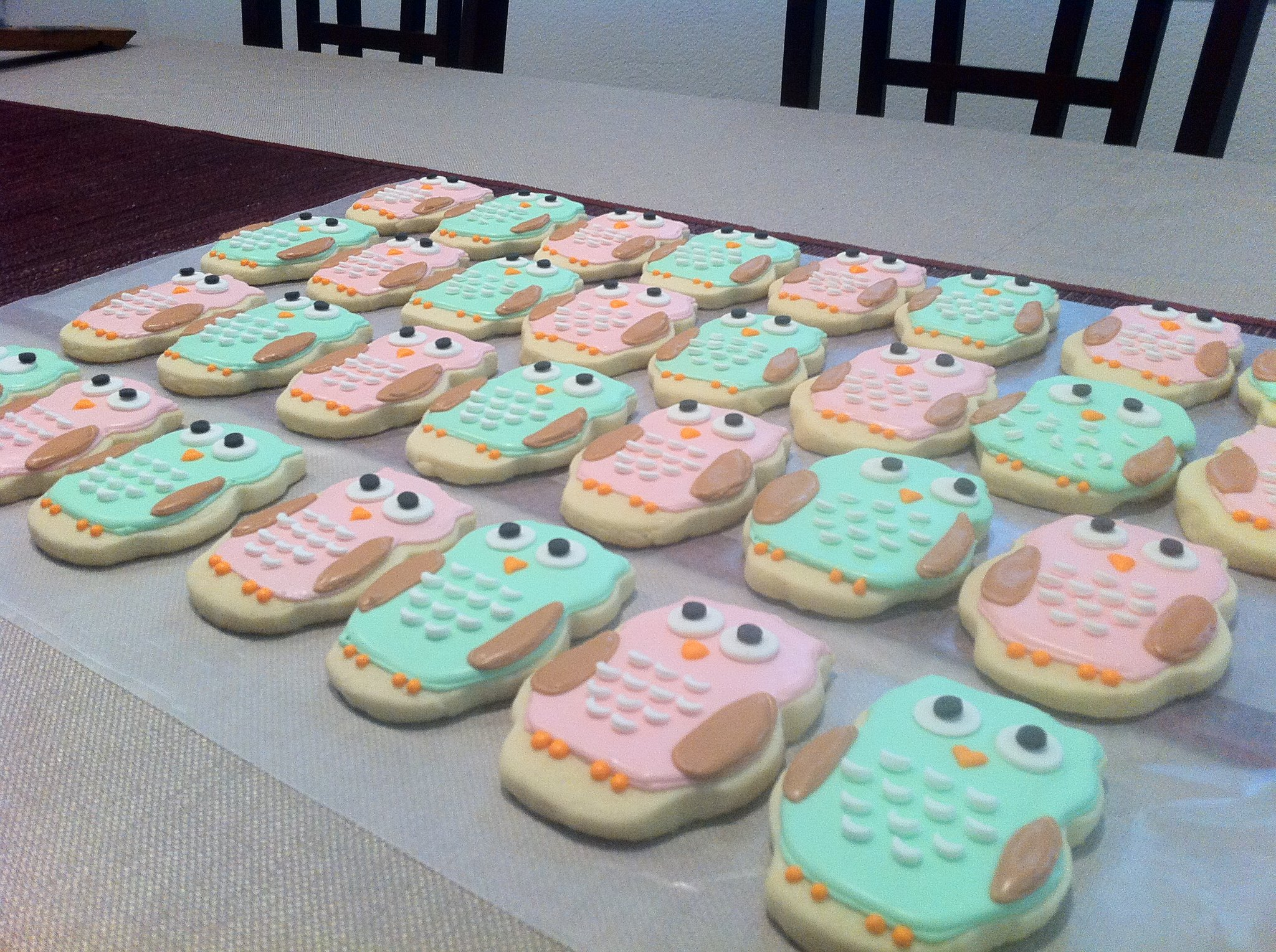 Ria 39 s cookies beautifully delicious for Baby shower owl decoration ideas